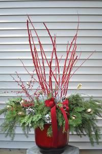 Sun Dec 6 2020 10am, Red Twig Porch Pot, 201206101